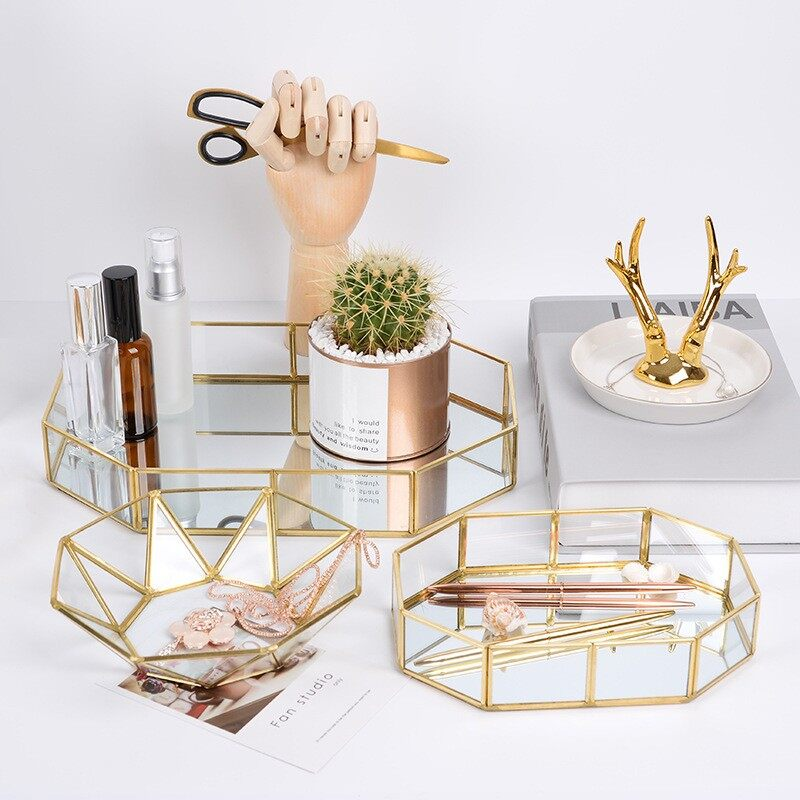 Nordic wind gold glass receiving tray [large] - intl