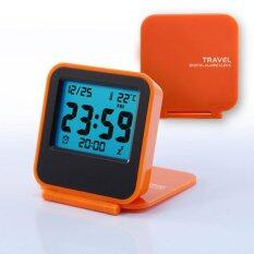 COROMOSE orange Mini Portable Travel Electronic Night Lamp LED Digital Desk Alarm Clock