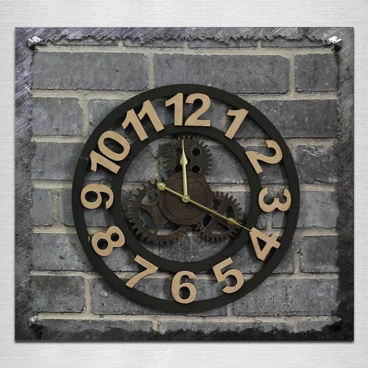 Originality American Industrial Style Wood Vintage Old Gear Wall Clock (Gold) - intl