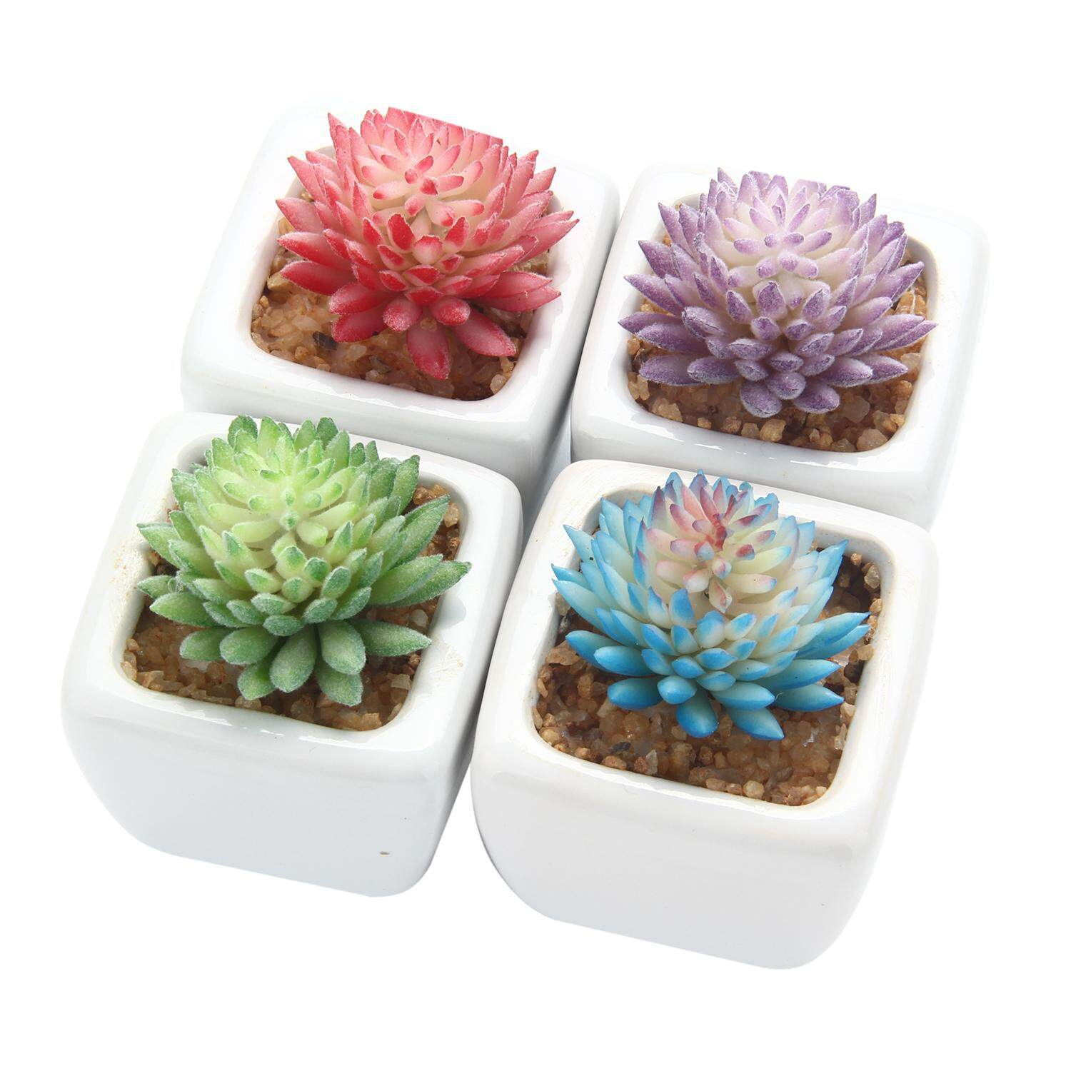 ouhofus Set Of 4 Modern White Ceramic Mini Potted Artificial Succulent Plants - intl