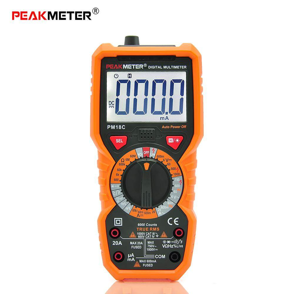 PEAKMETER PM18C Digital Multimeter Measuring Voltage Current Resistance Capacitance Frequency Temperature hFE NCV Live Line Tester - intl