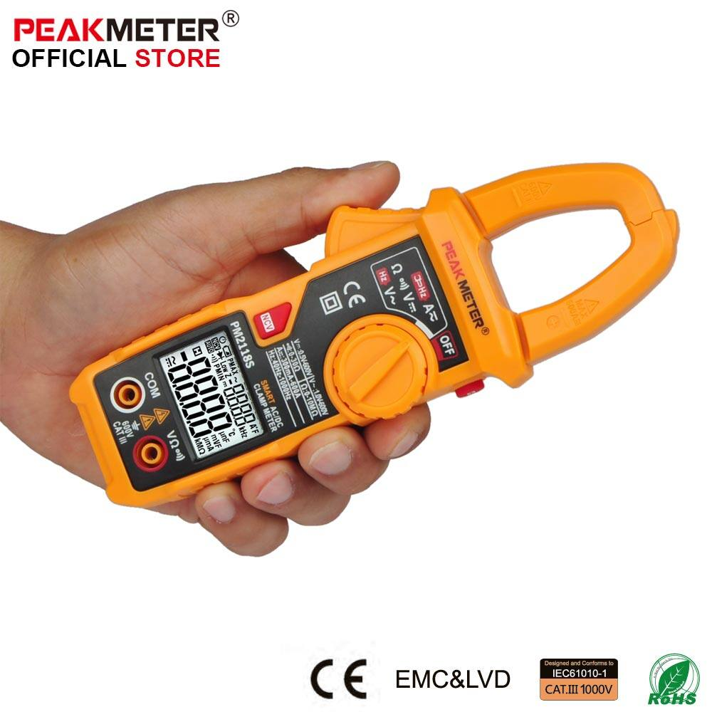 PEAKMETER PM2118S AC/DC Clamp Meter Multimeter AC Current Voltage Resistance Continuity Measurement Tester with NCV - intl