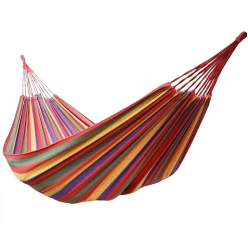 Portable Cotton Rope Outdoor Hammock (Red) - intl