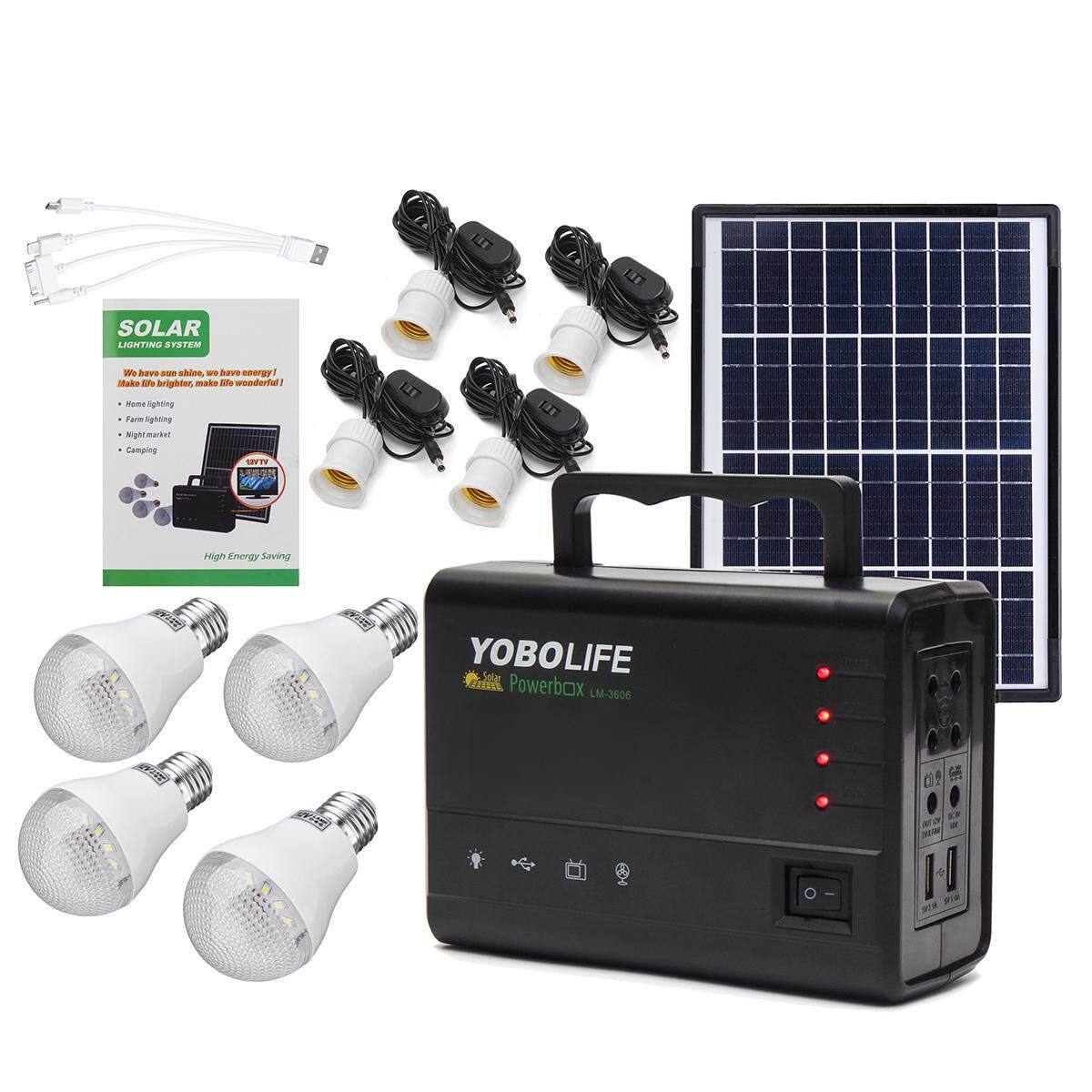 Portable Solar Panels Charging Generator Power System Home Outdoor Lighting - Intl By Freebang.