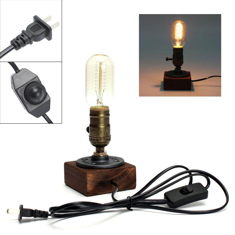 Retro Style Vintage Industrial Single Socket Table Bedside Desk Lamp Wooden Base Creative Edison Light Bulb Included Home Shop Decoration - intl