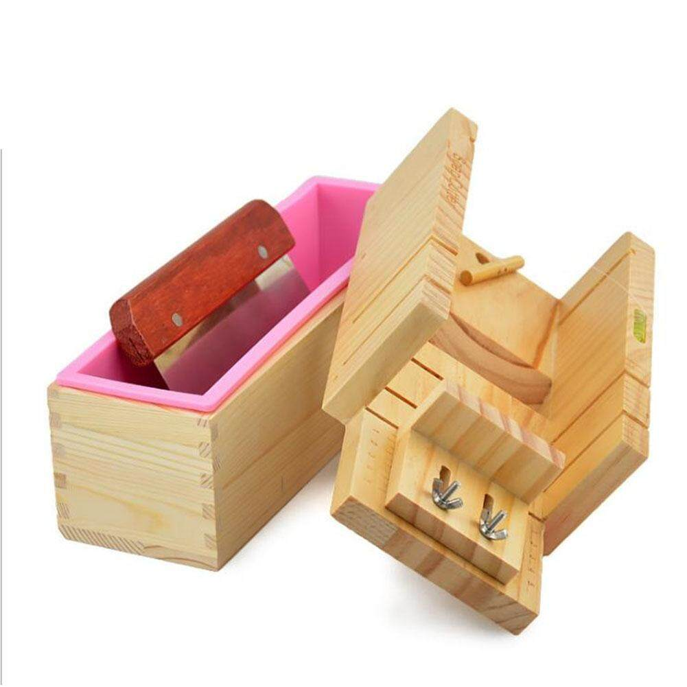 Redcolourful Soap Mold Wooden Box Toast Loaf Cake Maker Cutting Molds Slicer Cutter Style:1 set - intl