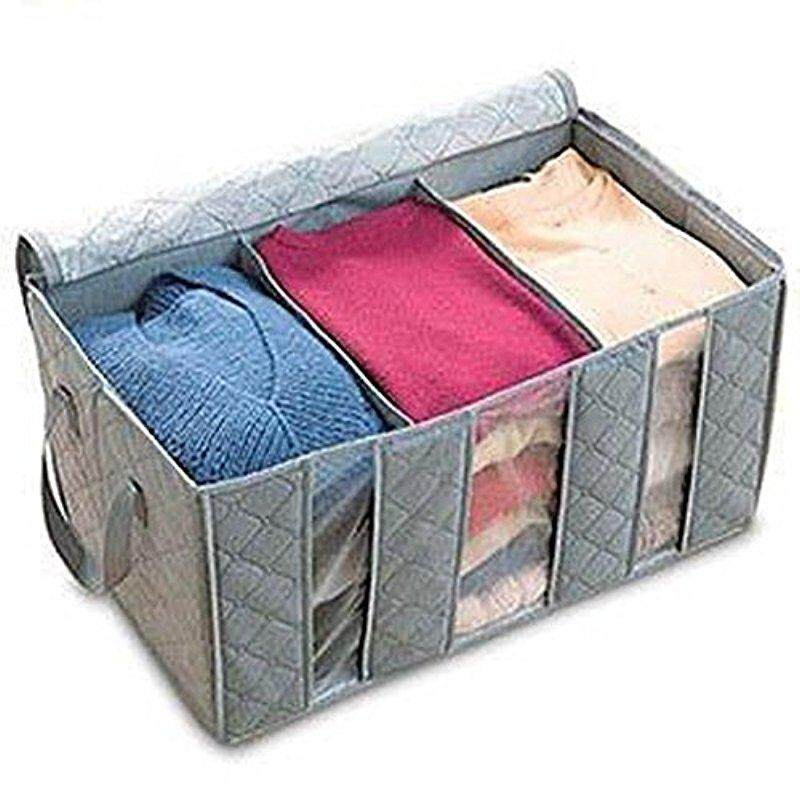 Starmall Fashion Leshery 65L 60*35*30cm Foldable Storage Bag Clothes Blanket Closet Sweater Organizer Box Charcoal - intl