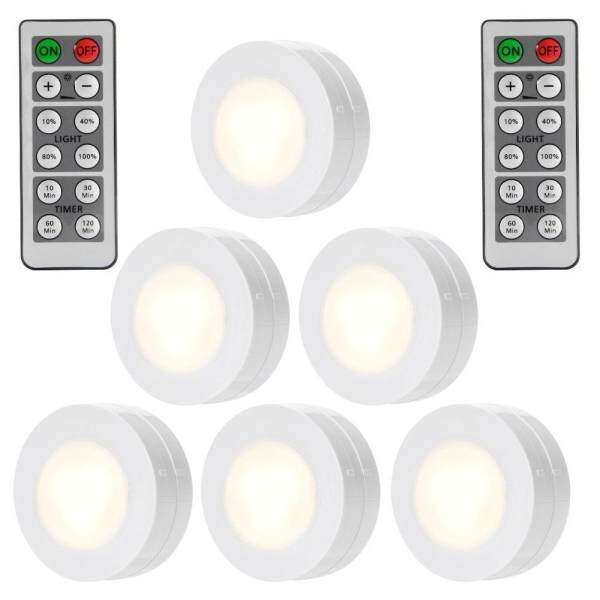 SunnyShop6 Packed LED Puck Lights Remote Controlled Closet Lights Super  Bright Under Cabinet Lighting Round Shape Battery ...