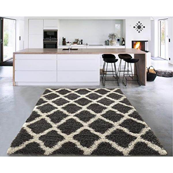 Sweet home stores cozy shag collection charcoal moroccan trellis design shag rug contemporary living bedroom
