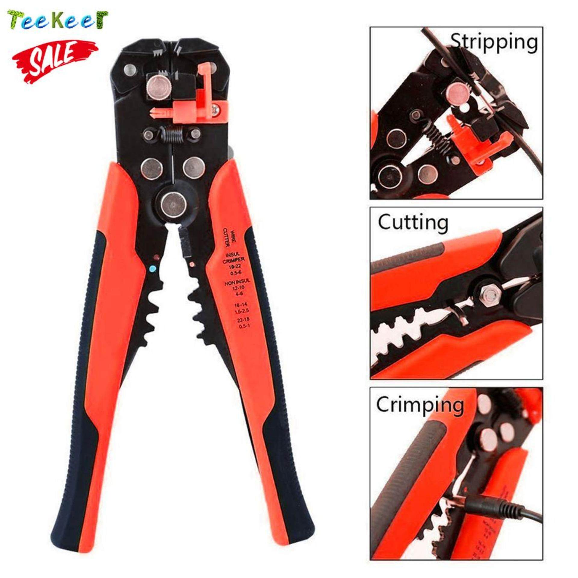 Teekeer Wire Stripping Tool Self-adjusting Cable Crimper Automatic Wire Stripper/ Cutting Pliers Tool For Industry 10-22 AWG Stranded Wire Cutting (Red+Black) - intl