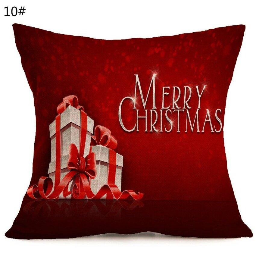Natal Meriah Pola Mobil Sofa Bantal Sarung (Tidak Termasuk Bantal)-Internasional