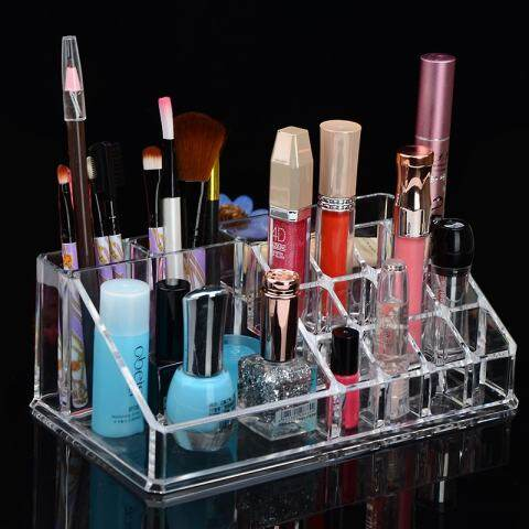 LB Tebal Jelas Meja Plastik Rak Pajangan Kosmetik Contoh Kosmetik Dudukan Penyimpanan Penata Alat Rias 2