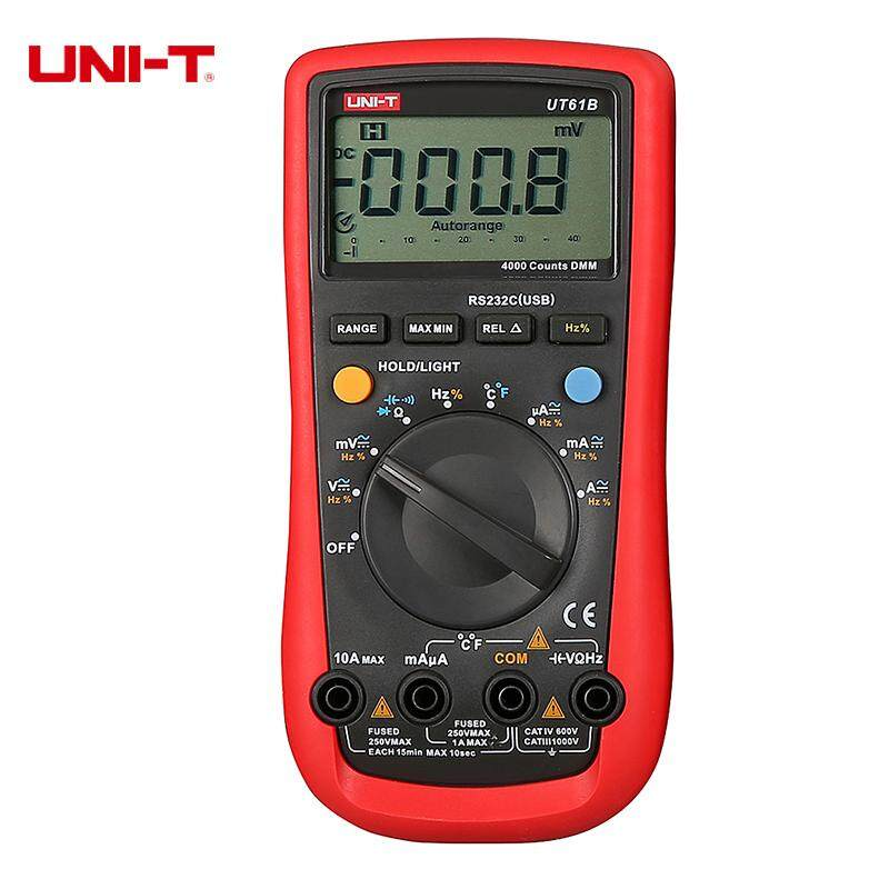 UNI-T UT61B Digital Multimeters USB PC Connect Data Export Diode AC DC Ohm Cap Temperature Testers LCD Backlight - intl