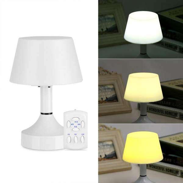 USB Rechargeable LED Night Light Desk Table Lamp Bedroom Dimmable Lighting Remote  Control   Intl