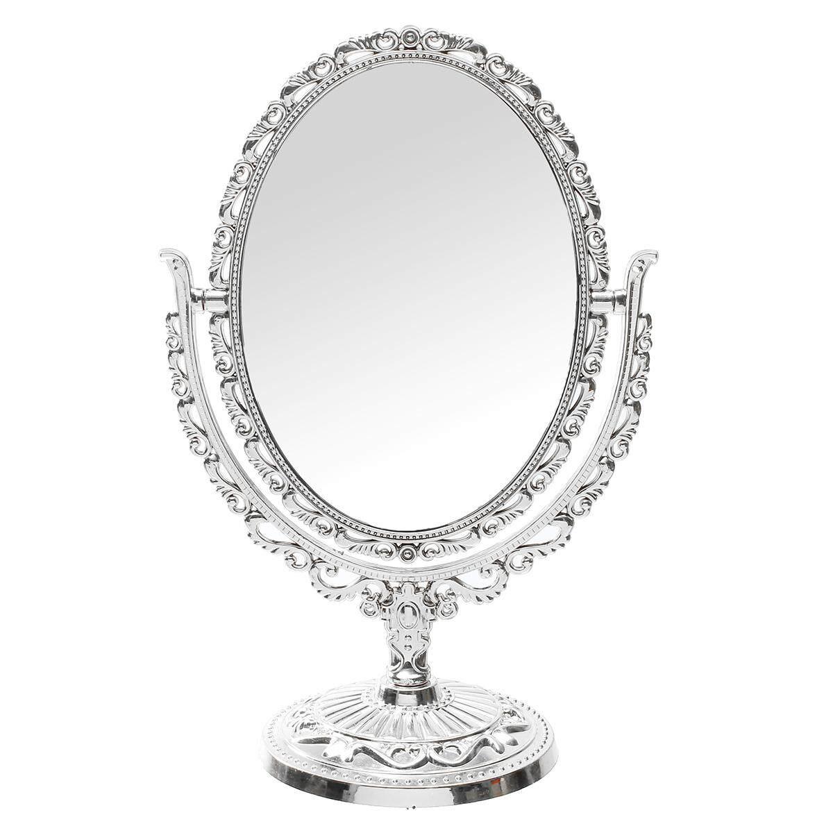 Vanity Mirror Oval shape 31cm silver vintage handheld Table Top MakeUp mirror(Silver) - intl