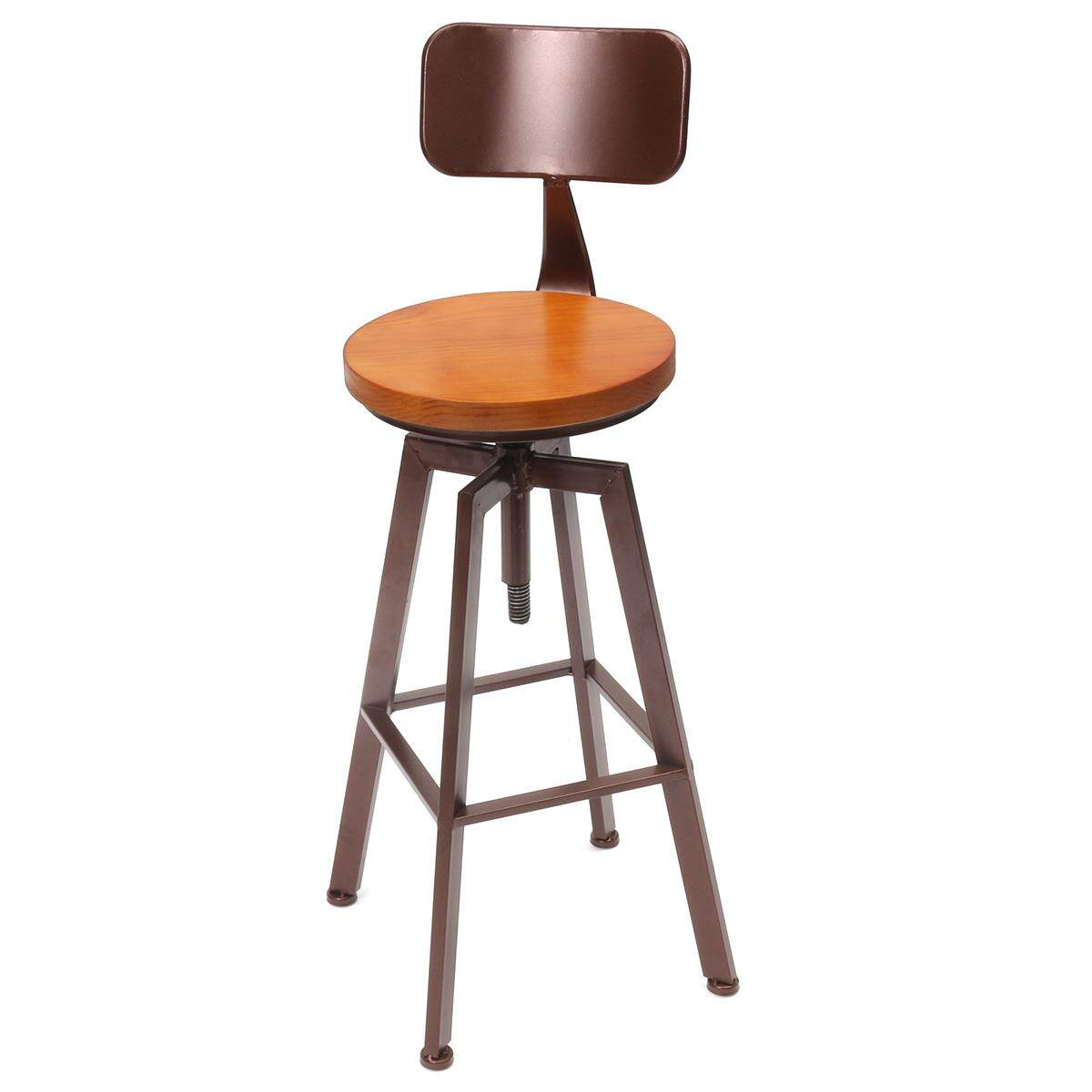 VINTAGE RETRO RUSTIC INDUSTRIAL METALSWIVEL BAR STOOL KITCHEN COUNTER CHAIR Have a back - intl