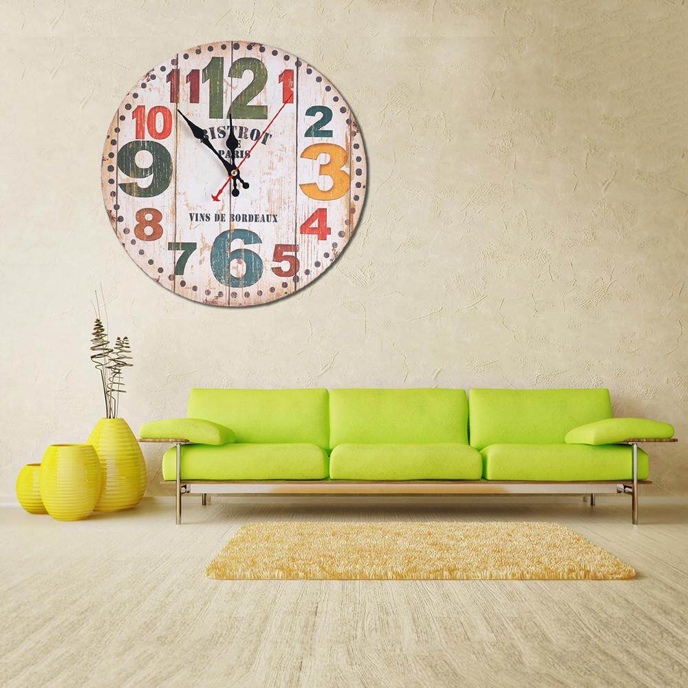 Vintage Style Non-Ticking Silent Antique Wood Wall Clock for Home Kitchen Office - intl