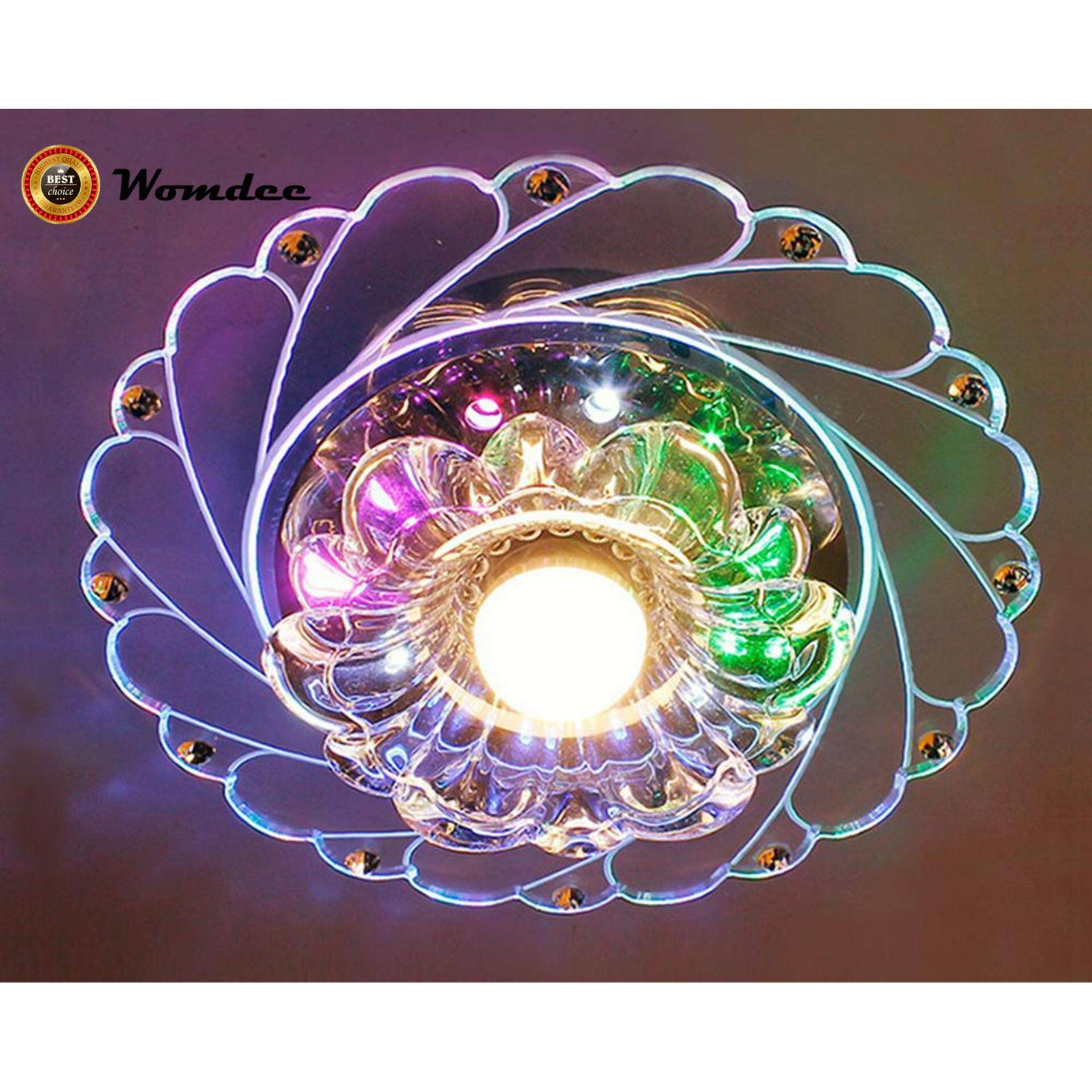 Womdee LED Crystal Ceiling Light Aisle Corridor Light Living Room Porch Lighting,Colorful - intl
