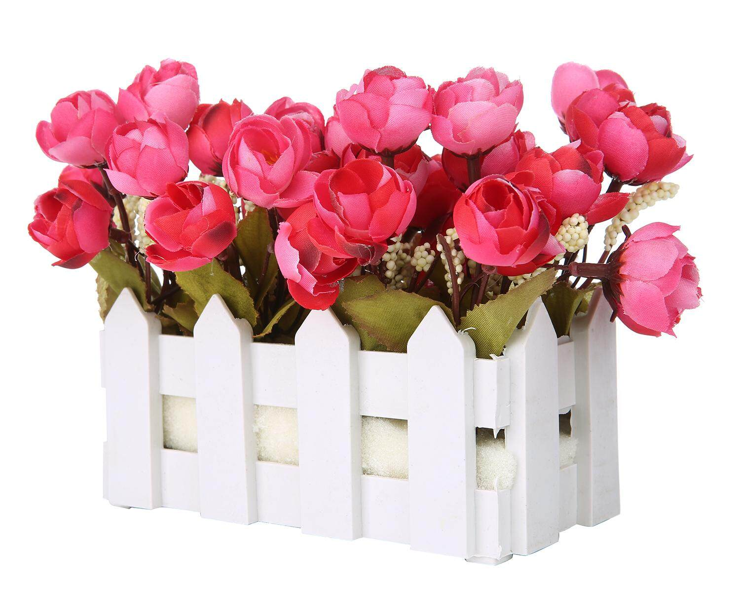yongcai Artificial Flowers Small Potted Plant Fake Camellia Sasanqua Set In Picket Fence,wine Red - intl