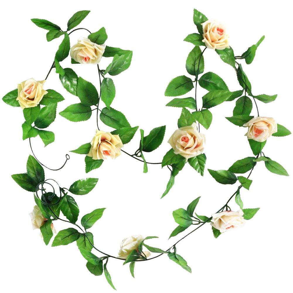 yongcai Artificial Hanging Vine Plant Rose Leaves Garland Home Garden Wall Decoration, Champagne - intl