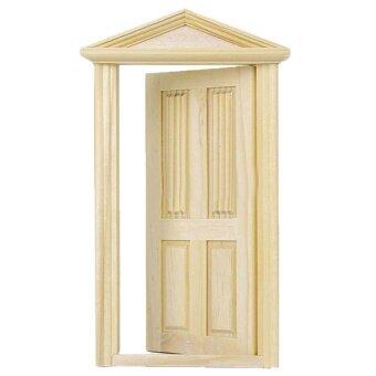 0 Doll Rumah Mini Furniture Pintu Kayu 4-Panel DIY Parentage Toy1: 12 (Cokelat-Internasional