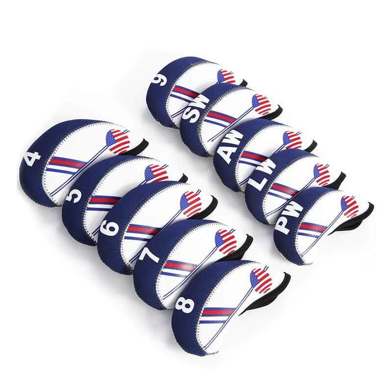 10pcs White And Blue Usa American Flag Golf Club Head Cover Iron Protect Set - Intl By Zoahu.
