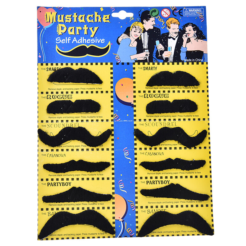 12pcs Costume Party Halloween Fake Mustache Mustaches Beard Whisker Accessories - Intl By Home Garden.