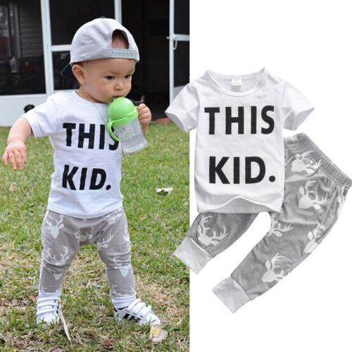 2PCS Baby Boy Kids Short Sleeve T-shirt+Pants Outfits Clothes Set