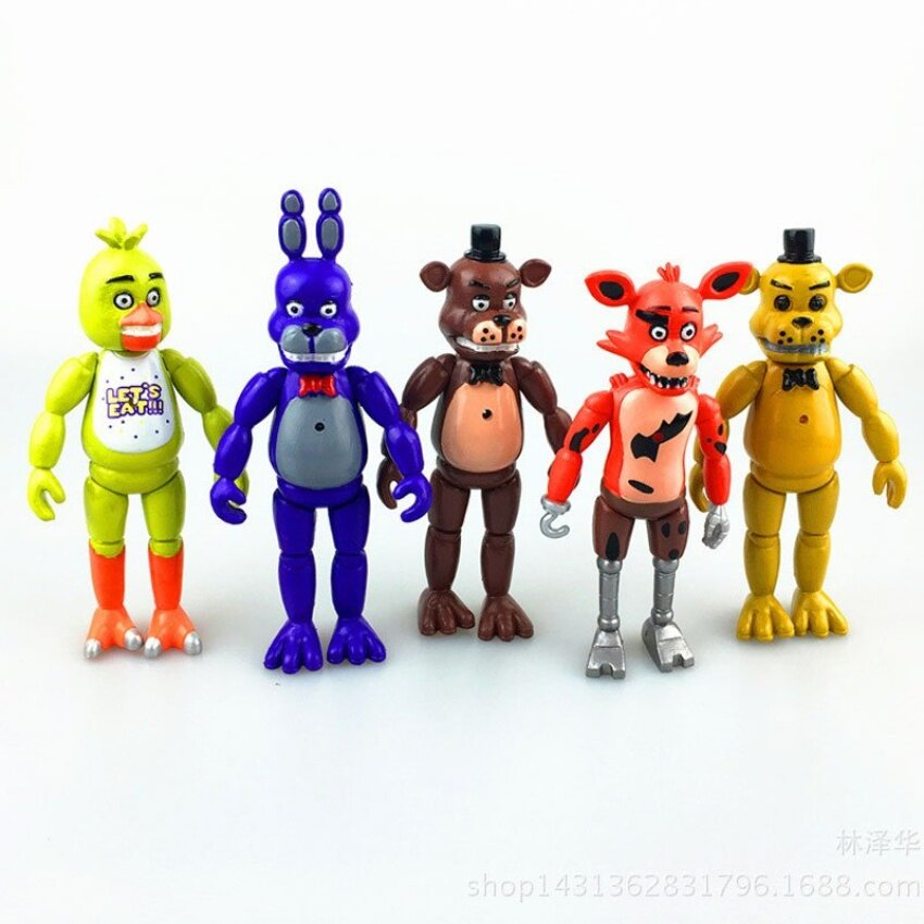 5pcs/set 5.5inches PVC Five Nights At Freddys with Lighting ActionFigures Toys Foxy Freddy