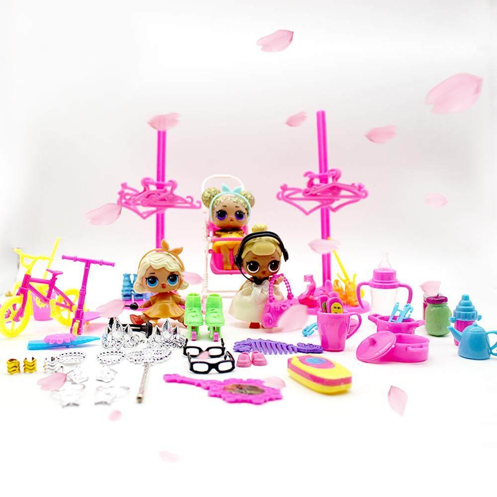 98 Pcs Bayi Doll Permainan Aksesoris Rumah Dapur Utensil Sepatu Cermin Kecil Anting-Anting Mainan