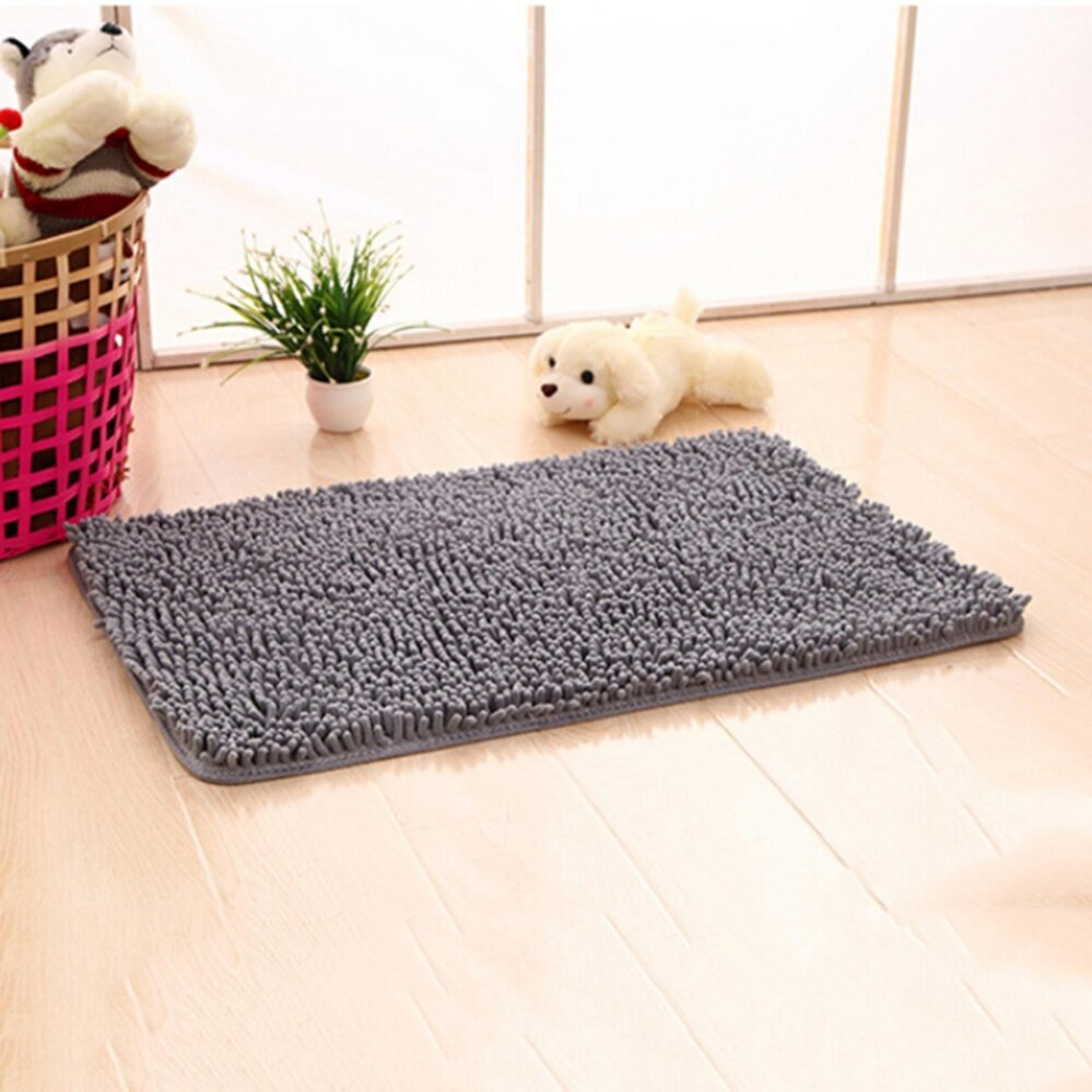 Absorbent Soft Shaggy Non Slip Bath Mat Bathroom Shower Home Floor Rugs Carpet Grey - intl