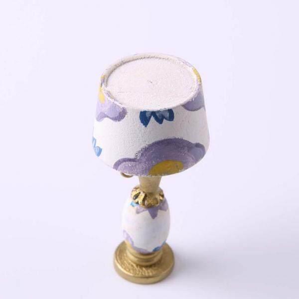 Bolehdeals 1/12 Rumah Boneka Miniatur Furniture Wood Room Model Lampu Meja Desain Violet-Internasional