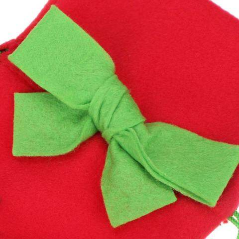 Christmas Wine Bottle Cover with Green Bow Embroidery Pattern(Red) 5