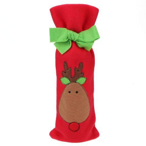 Christmas Wine Bottle Cover with Green Bow Embroidery Pattern(Red) 4
