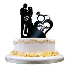 Buy at best price in malaysia lazada coconie wedding cake topper insert card love groom and bride acrylic cake decoration black junglespirit Images