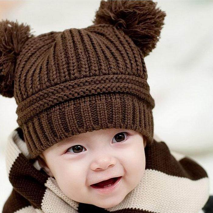 Cute Baby Kids Girl Boy Dual Balls Warm Winter Knitted Cap Hat Beanie CO