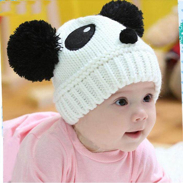 Cute Baby Kids Girls Boys Stretchy Warm Winter Panda Cap Hat Beanie WH