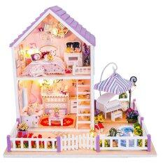 Hình ảnh Kid's Toy DIY Wooden Dolls house Miniature Kit Romantic Purple Home Decoration