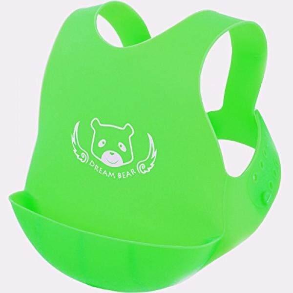 DREAM BEAR® Lunak Yg Dpt Dipakai Baby Bib, Silikon Food Grade, Hijau/Pink-Intl