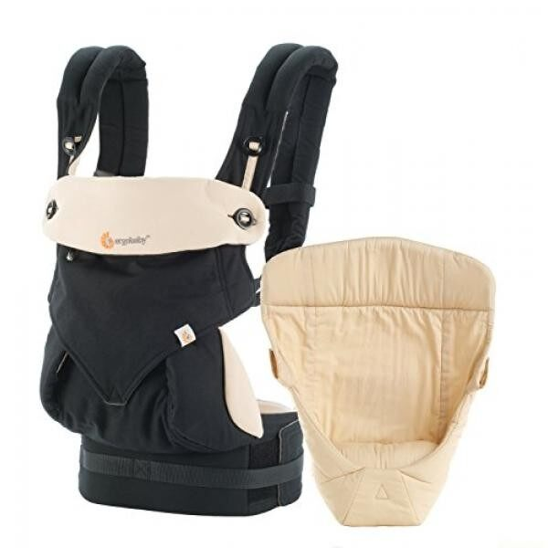 Ergobaby Bundle - 2 Items: Black/Camel All Carry Position Award Winning 360 Baby Carrier and Easy Snug Infant Insert, Natural - intl