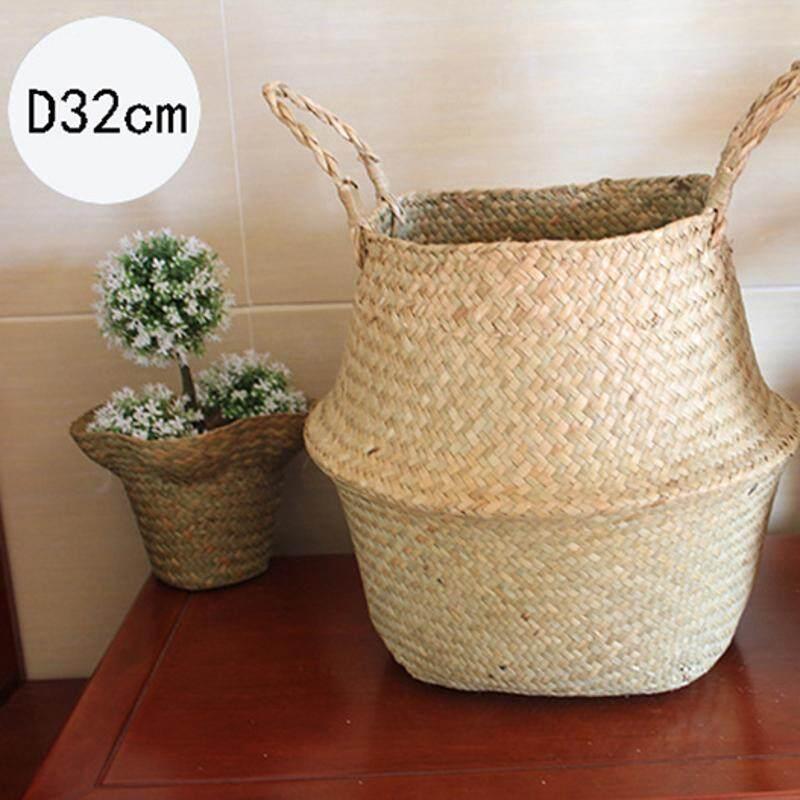 Folding Flower Pot Straw Basket Storage Baskets Flower Vase Hanging Baskets Home Storage Basket Garden Pot Planter Organization - Intl By Threegold.