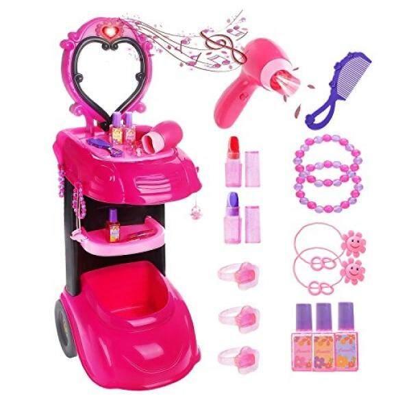 Gili Riasan Mainan Dresser Berpura-pura Bermain untuk Anak Perempuan, Salon Vanity & Cermin & Pengering Rambut Bekerja-Internasional