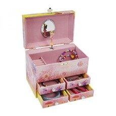 Jewelkeeper Peri dan Bunga Besar Musik Perhiasan Penyimpanan Boxwith 4 Penarikan Laci. Gadis Kotak Perhiasan