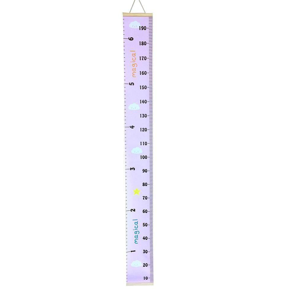 Kobwa แผ่นวัดส่วนสูงแผ่นวัดความสูงแบบแขวนผนังห้องเด็กกรอบรูปไม้ไม้บรรทัดผ้าตกแต่งห้อง - Intl.