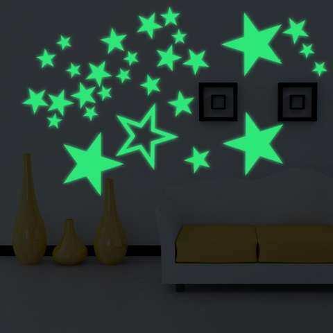 Leegoal Dapat Dilepas 30 Cm Bulan Bintang Glow In The Dark Sticker, malam Bercahaya Dinding Kamar Anak-anak Stiker Tempel untuk Simulasi Anak-anak Ideal Dekorasi atau Orang Dewasa, Hadiah Yang Sempurna Anak Laki-laki Perempuan, Warna-warni 1