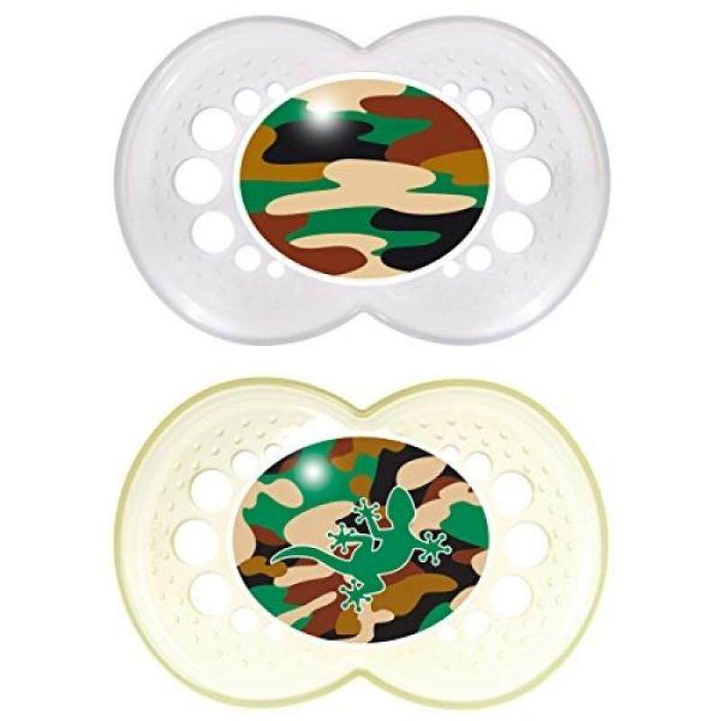 MAM Camo Orthodontic Pacifier, Unisex, 16+ Months, 2-Count - intl Singapore
