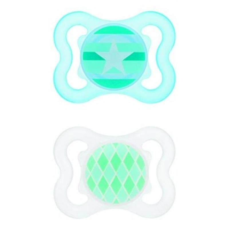 MAM Mini-Air Orthodontic Pacifier, Boy, 0-6 Months, 2-Count - intl Singapore