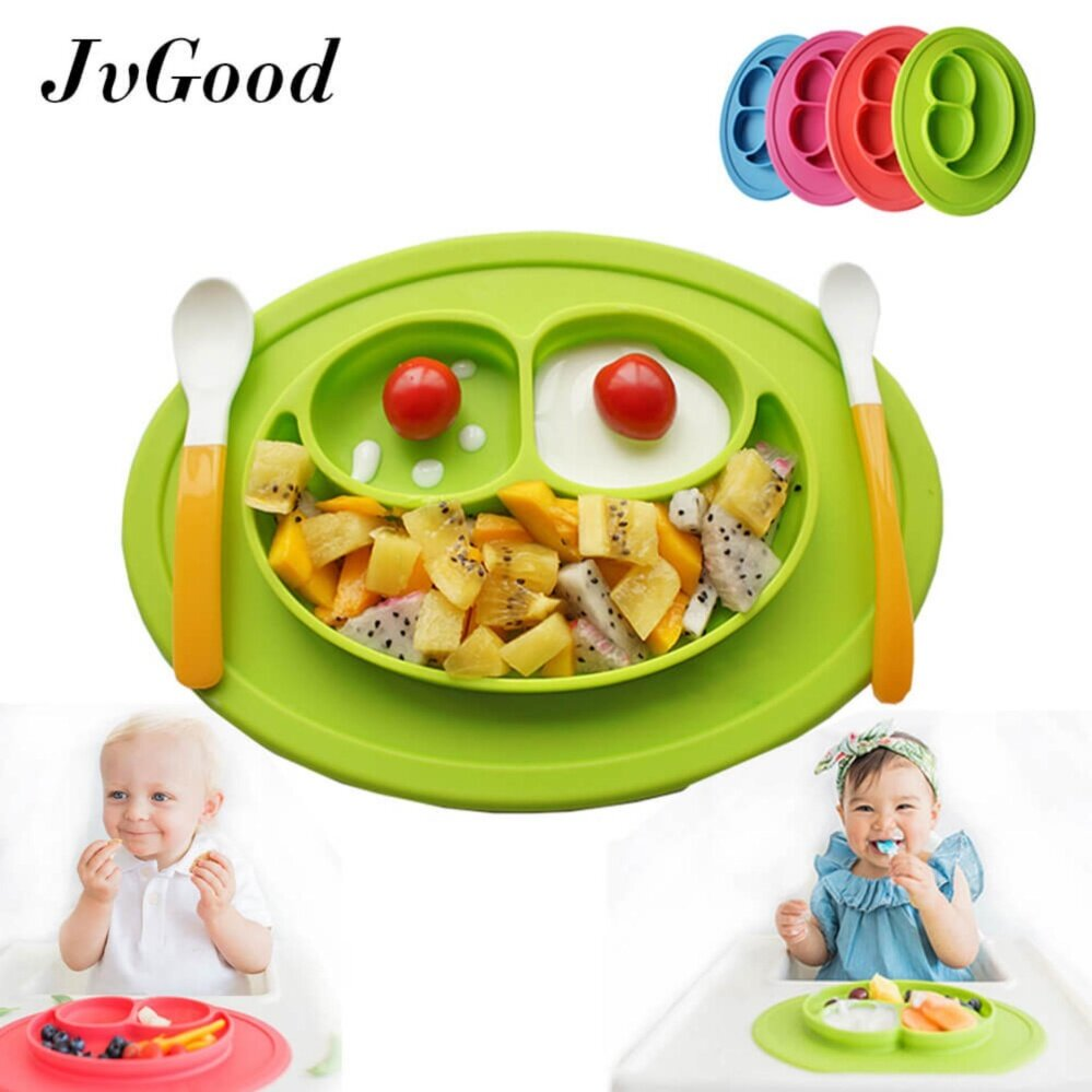 [promotion!] Jvgood Baby Silicone Placemat Plate Tray For Infants Toddlers And Kids Food Mats One Piece Happy Mat Suction Fits To Most Tables Highchair Non Slip Baby Feeding Fda Approved, Green - Intl By Jvgood.