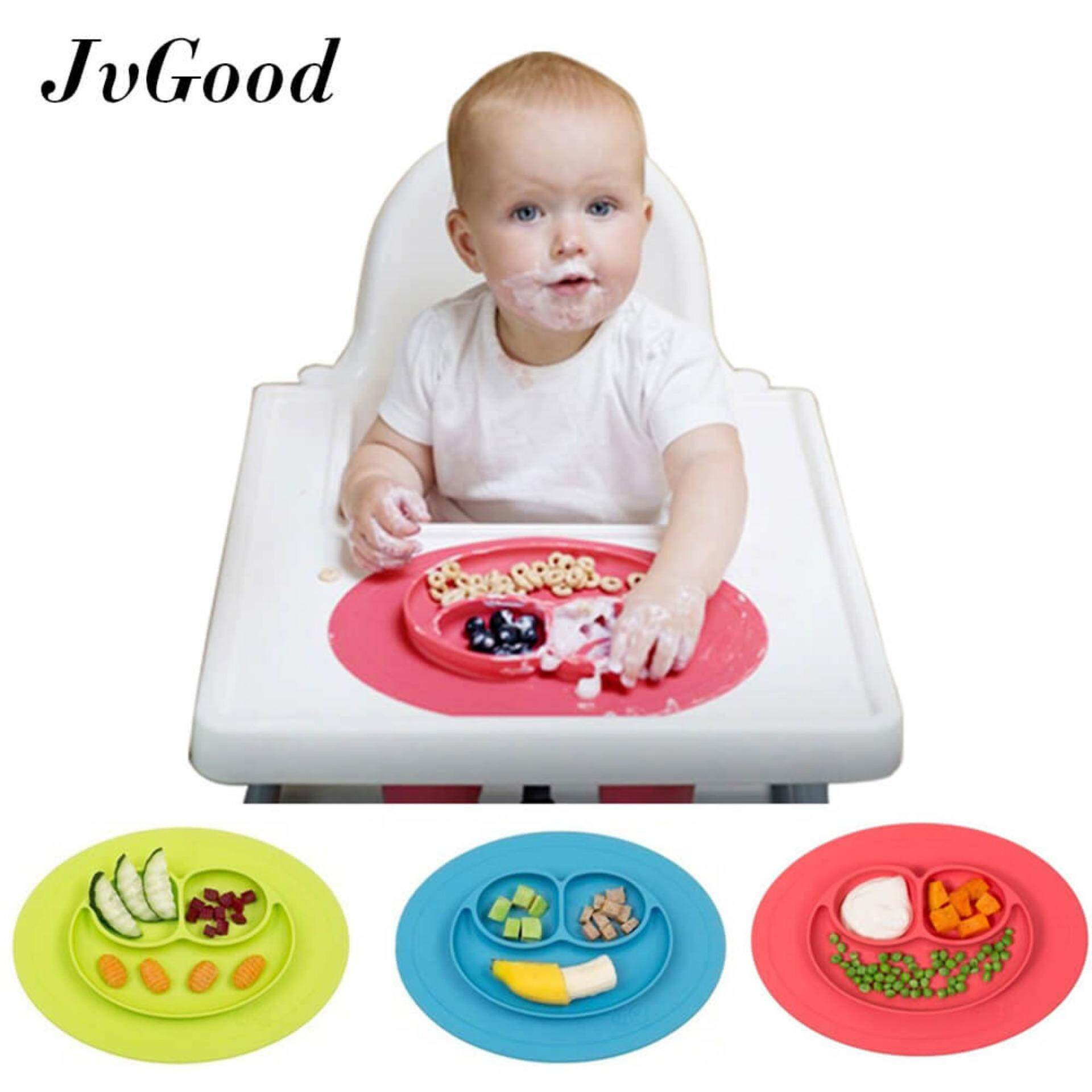 [promotion!] Jvgood Baby Silicone Placemat Plate Tray For Infants Toddlers And Kids Food Mats One Piece Happy Mat Suction Fits To Most Tables Highchair Non Slip Baby Feeding Fda Approved, Red - Intl By Jvgood.