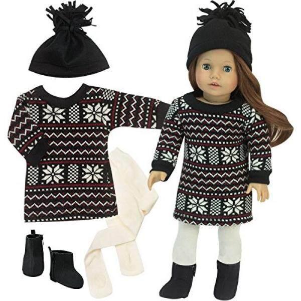 Sweater Gaun Set untuk 18 Dalam Boneka, Hitam Bergaya Fair Isle Doll Sweater Gaun dengan Topi Hitam, sepatu Bot Hitam & Gading Tights 4 Piece Musim Dingin Doll Outfit Oleh Sophias-Internasional